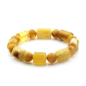 Adult Baltic Amber Bracelet Cylinder Round Beads 13mm 18gr. CB171