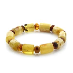 Adult Baltic Amber Bracelet Cylinder Tablet Beads 13mm 17gr. CB172