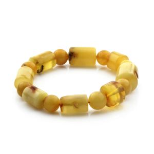 Adult Baltic Amber Bracelet Cylinder Round Beads 13mm 19gr. CB173