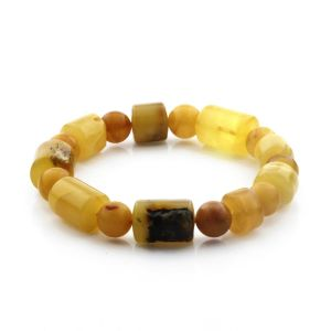 Adult Baltic Amber Bracelet Cylinder Round Beads 13mm 18gr. CB174