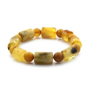 Adult Baltic Amber Bracelet Cylinder Round Beads 13mm 18gr. CB176