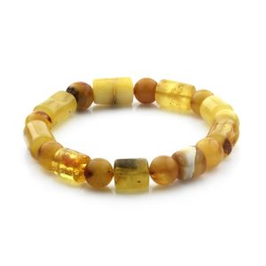 Adult Baltic Amber Bracelet Cylinder Round Beads 14mm 14gr. CB177