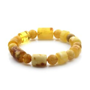 Adult Baltic Amber Bracelet Cylinder Round Beads 13mm 19gr. CB178