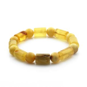 Adult Baltic Amber Bracelet Cylinder Round Beads 13mm 17gr. CB179