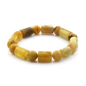 Adult Baltic Amber Bracelet Cylinder Round Beads 13mm 16gr. CB180