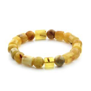 Adult Baltic Amber Bracelet Cylinder Round Beads 11mm 15gr. CB181