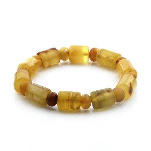 Adult Baltic Amber Bracelet Cylinder Tablet Beads 12mm 17gr. CB182