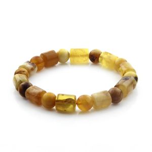 Adult Baltic Amber Bracelet Cylinder Round Beads 10mm 15gr. CB183