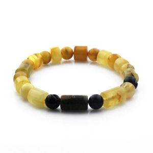 Adult Baltic Amber Bracelet Cylinder Round Beads 12mm 12gr. CB184
