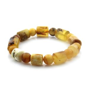 Adult Baltic Amber Bracelet Cylinder Round Beads 13mm 18gr. CB185