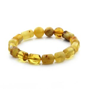 Adult Baltic Amber Bracelet Cylinder Round Beads 12mm 15gr. CB186