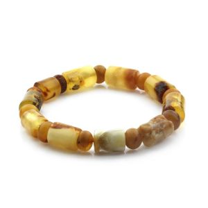Adult Baltic Amber Bracelet Cylinder Tablet Beads 12mm 15gr. CB187