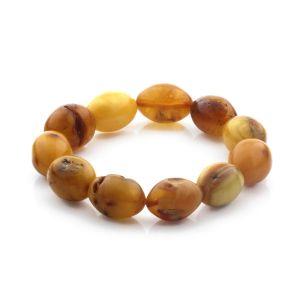 Adult Baltic Amber Bracelet Olive Beads 17mm 21gr. CB195