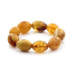Adult Baltic Amber Bracelet Olive Beads 24mm 25gr. CB197