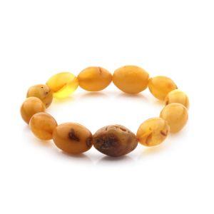 Adult Baltic Amber Bracelet Olive Baroque Beads 17mm 15gr. CB198
