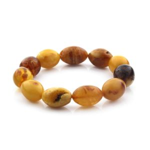 Adult Baltic Amber Bracelet Olive Beads 16mm 21gr. CB199