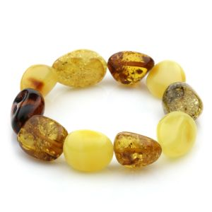 Adult Baltic Amber Bracelet Olive Beads 12mm 17gr. JNR13