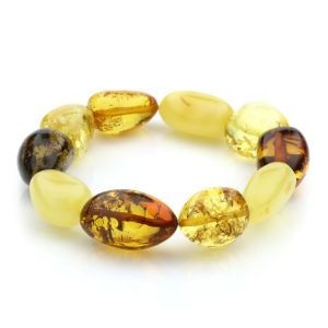 Adult Baltic Amber Bracelet Olive Beads 14mm 19gr. JNR21