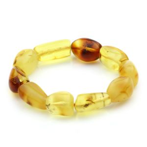 Adult Baltic Amber Bracelet Olive Beads 15mm 22gr. JNR29