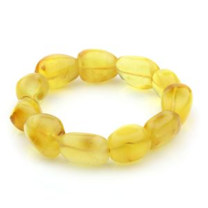 Adult Baltic Amber Bracelet Olive Beads 15mm 21gr. JNR46