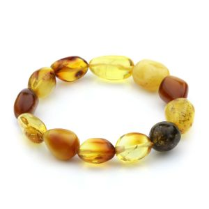 Adult Baltic Amber Bracelet Olive Beads 12mm 10gr. JNR49