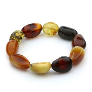 Adult Baltic Amber Bracelet Olive Beads 14mm 16gr. JNR50