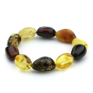 Adult Baltic Amber Bracelet Olive Beads 14mm 17gr. JNR51
