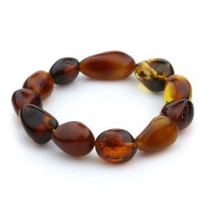 Adult Baltic Amber Bracelet Olive Beads 13mm 13gr. JNR56
