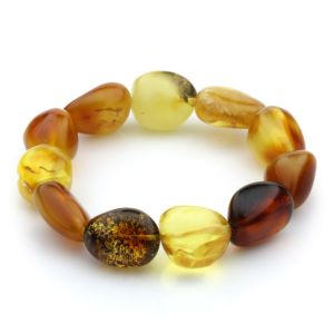 Adult Baltic Amber Bracelet Olive Beads 14mm 17gr. JNR59