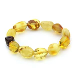 Adult Baltic Amber Bracelet Olive Beads 13mm 13gr. JNR60