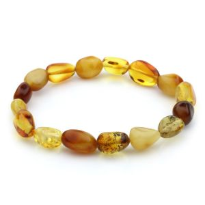 Adult Baltic Amber Bracelet Olive Beads 10mm 8gr. JNR63