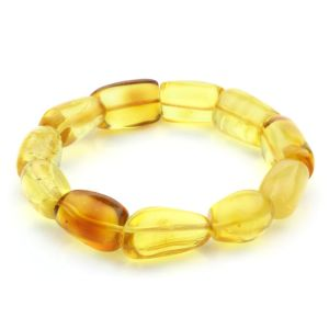 Adult Baltic Amber Bracelet Olive Beads 14mm 18gr. JNR65