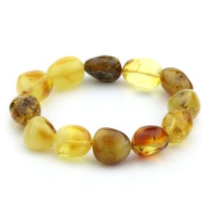 Adult Baltic Amber Bracelet Olive Beads 14mm 17gr. JNR67