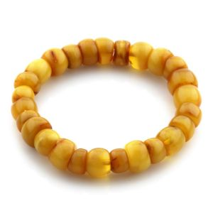 Adult Baltic Amber Bracelet Tablet Beads 10mm 11gr. JNR76
