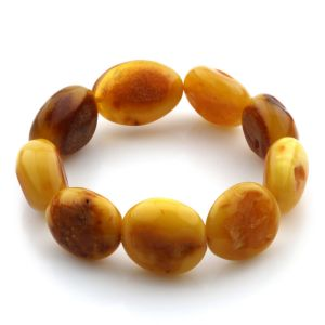 Adult Baltic Amber Bracelet Olive Beads 19mm 19gr. JNR79
