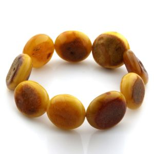 Adult Baltic Amber Bracelet Olive Beads 20mm 22gr. JNR85