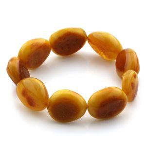 Adult Baltic Amber Bracelet Olive Beads 19mm 22gr. JNR88