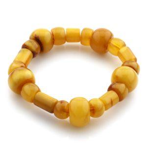 Adult Baltic Amber Bracelet Cylinder Tablet Beads 15mm 20gr. JNR92