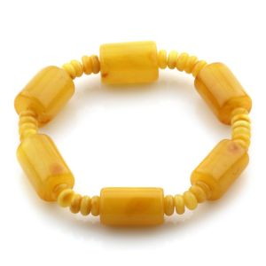 Adult Baltic Amber Bracelet Cylinder Tablet Beads 16mm 10gr. JNR95