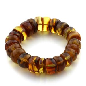 Adult Baltic Amber Bracelet Tablet Beads 18mm 36gr. JNR105