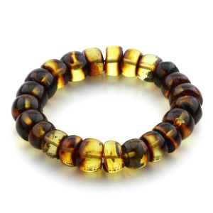 Adult Baltic Amber Bracelet Tablet Beads 12mm 22gr. JNR113