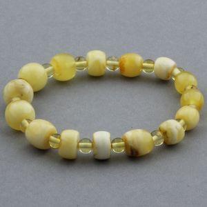 Adult Baltic Amber Bracelet Round Cylinder Beads 7mm 5gr. JNR115