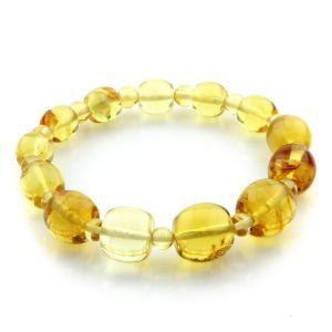 Adult Baltic Amber Bracelet Round Cylinder Beads 12mm 8gr. JNR122