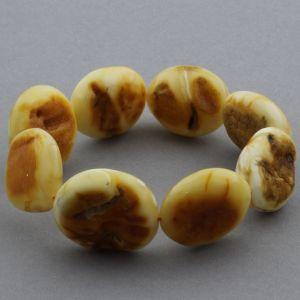 Adult Baltic Amber Bracelet Olive Beads 25mm 27gr. JNR127