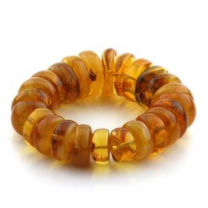 Adult Baltic Amber Bracelet Tablet Beads 20mm 64gr. JNR132