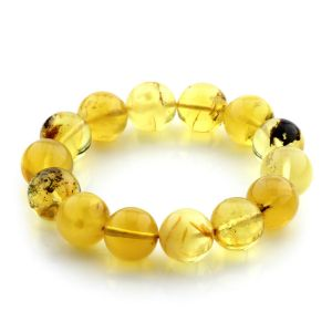 Adult Baltic Amber Bracelet Round Beads 15mm 27gr. JNR133