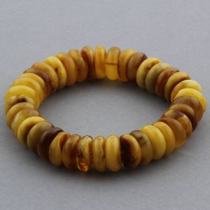 Adult Baltic Amber Bracelet Tablet Beads 14mm 30gr. JNR144