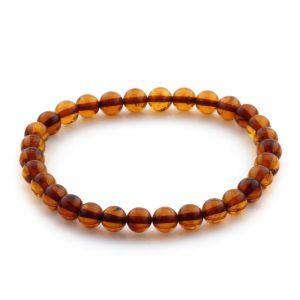 Adult Baltic Amber Bracelet Round Beads 6mm 3gr. JNR168