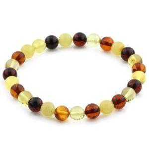 Adult Baltic Amber Bracelet Round Beads 7mm 4gr. JNR169