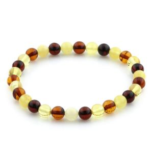 Adult Baltic Amber Bracelet Round Beads 6mm 3gr. JNR171
